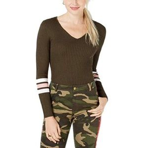 Hooked Up by IOT Shapewear Lace-Up Stripe Sweater